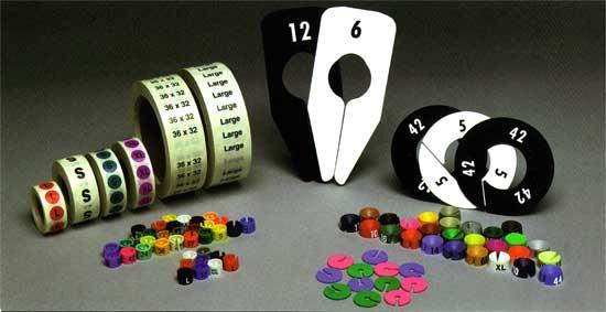 Plastic Size Dividers, Size Markers and Size Stickers