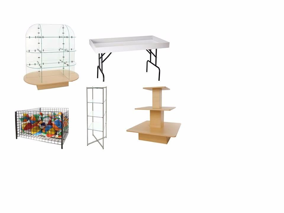 Tables, Baskets ,Shelving Racks and Glass Towers
